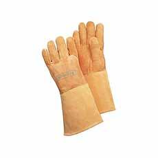 Lashandschoen softouch, bruin, ca 35cm maat. XL (10) WELDAS 10-1003
