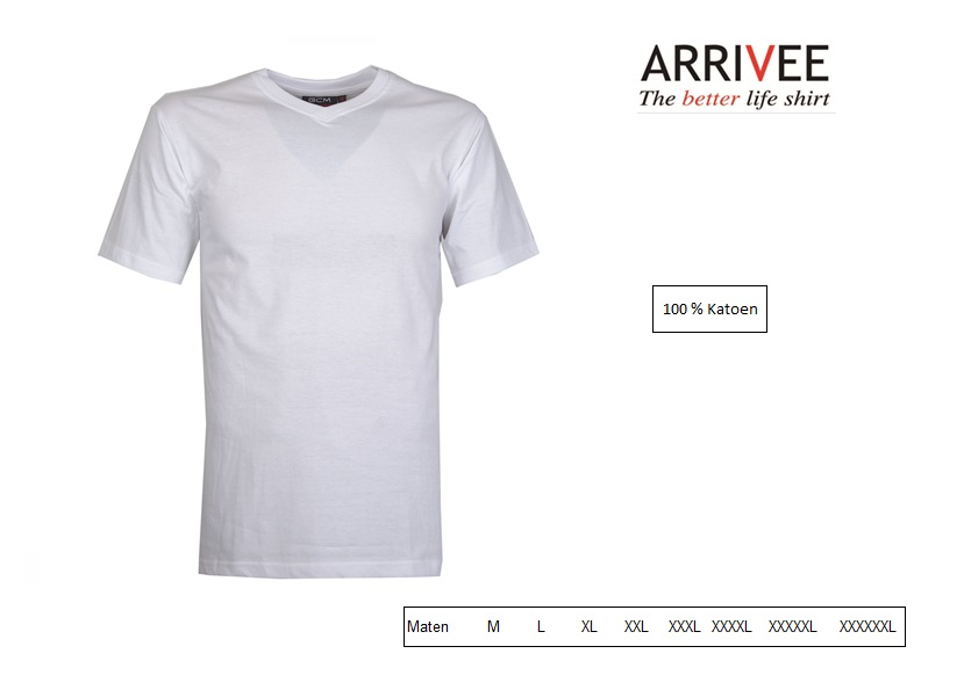 T-Shirt korte mouw V-nek wit Maat M Arrivee 801.101