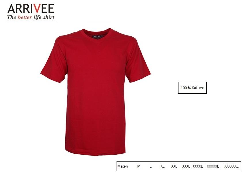 T-Shirt korte mouw V-nek rood Maat M Arrivee 801.450