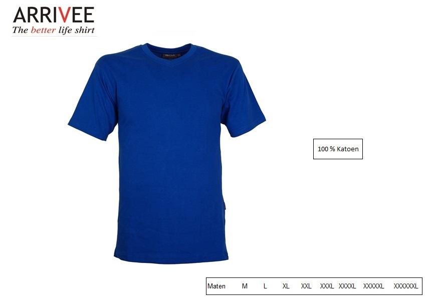 T-Shirt korte mouw V-nek cobalt Maat M Arrivee 801.680