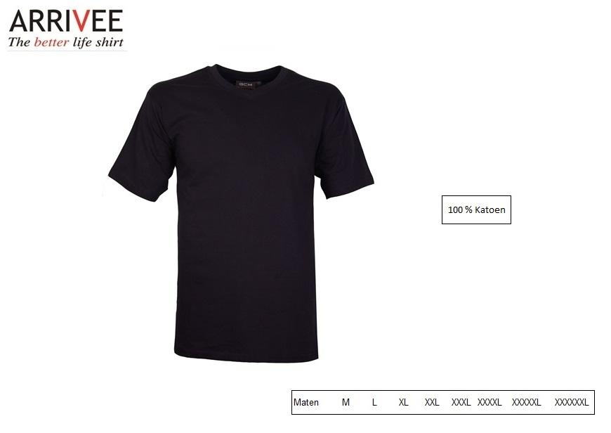 T-Shirt korte mouw V-nek navy Maat M Arrivee 801.694