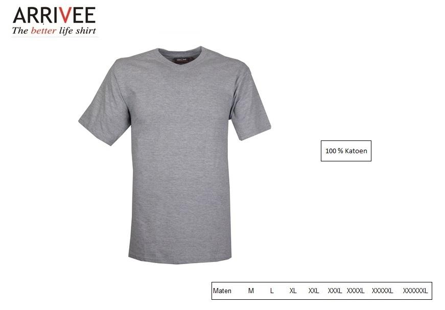 T-Shirt korte mouw V-nek grijs Maat M Arrivee 801.921