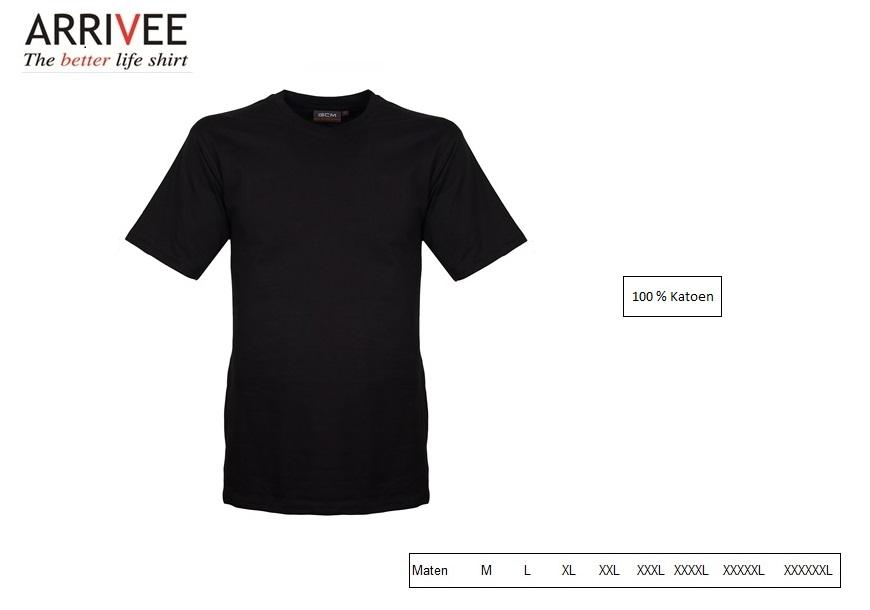 T-Shirt korte mouw V-nek zwart Maat M Arrivee 801.999