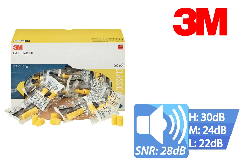 Oordoppen EAR CLASSIC zachte EN 352-2 (SNR) = 28 dB per dispenser 200