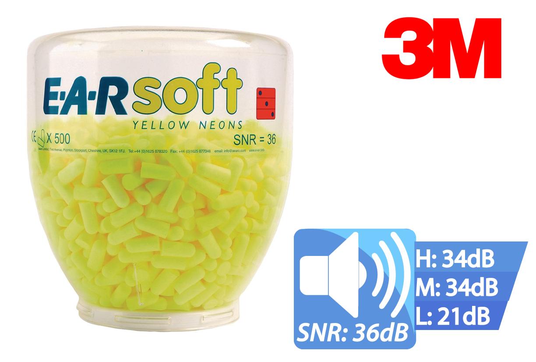 Oordoppen EAR SOFT Neon geel dispenser 500 setjes, EAR PD01002