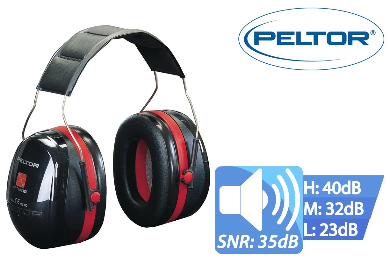 Peltor Optime III Oorkap met Hoofd Beugel SNR 35, Peltor H540A-411-SV