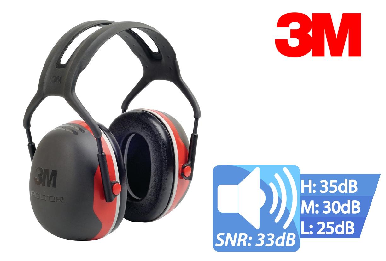 Oorbescherming X3A EN 352-1 SNR33 dB Hoofdband Dielectric 3M