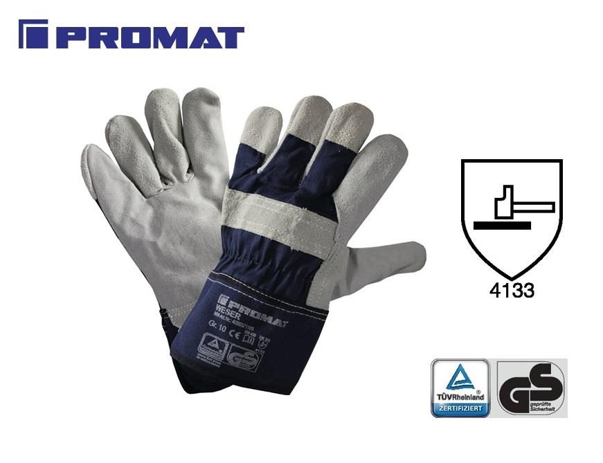Handschoen Weser mt10 rundsplitleer mouw rubber