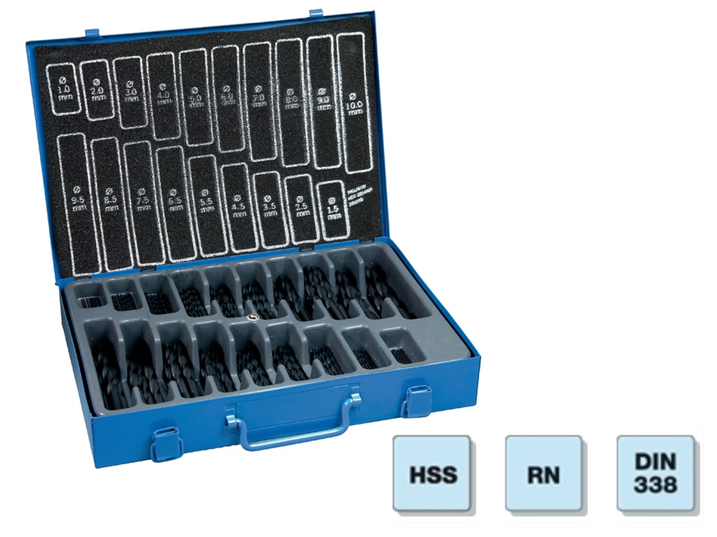 Spiraalboor rolgewalst set HSS rolgewalst N. 1-10mm 0,5mm