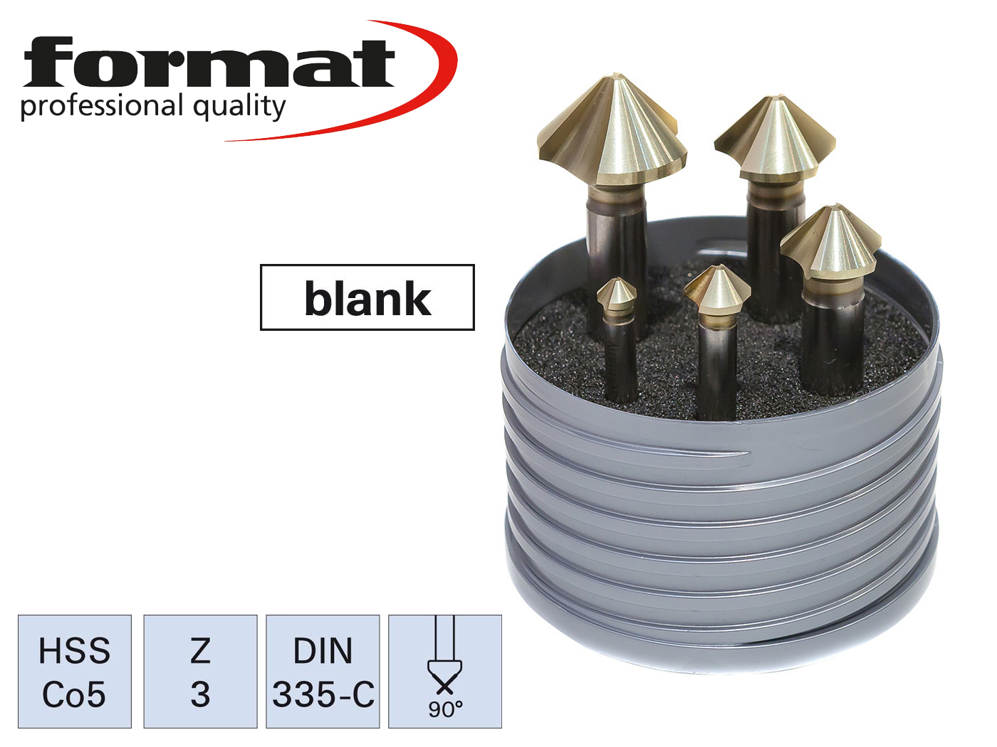 verzinkboor ongelijk verdeeld set DIN335 C 90G HSS6,30-25,00mm