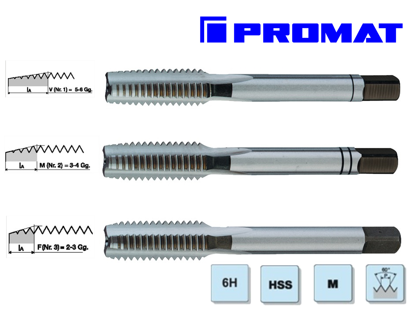 Handtappenset M 7 x 1,0 DIN 352 HSS