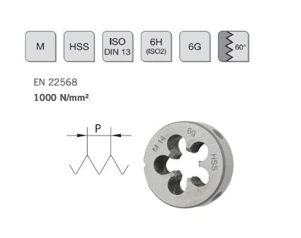 Ronde snijplaat M 2,2x0,45 DIN 223B HSS