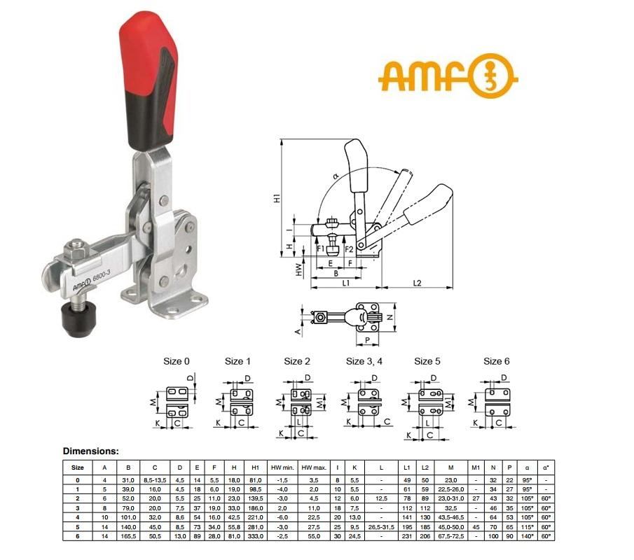 AMF Verticale spanklem met horizontale voet Gr.0 Nr.6800