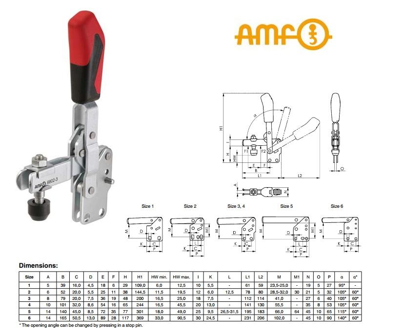 AMF Verticale spanklem met verticale voet Gr.1 Nr 6802