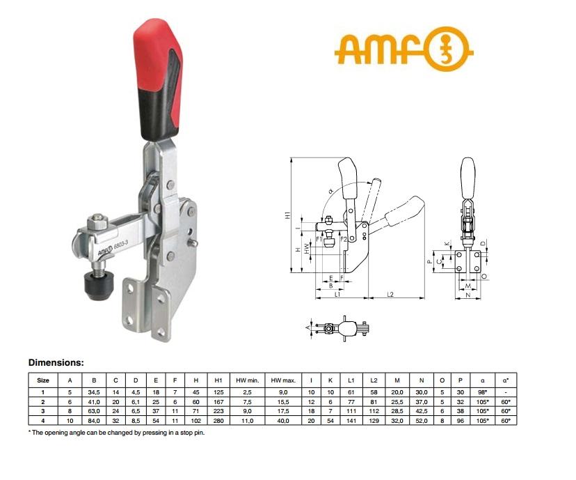 AMF Vertikale spanner met haakse voet Gr.1 Nr 6803