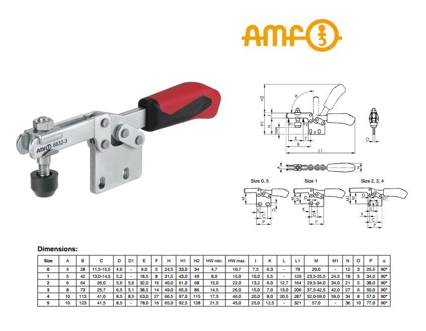 AMF Horizontale spanklem met verticale voet Gr.0 Nr 6832