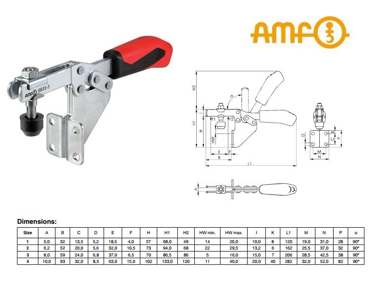 AMF Horizontale spanklem met haakse voet Gr 2 Nr 6833