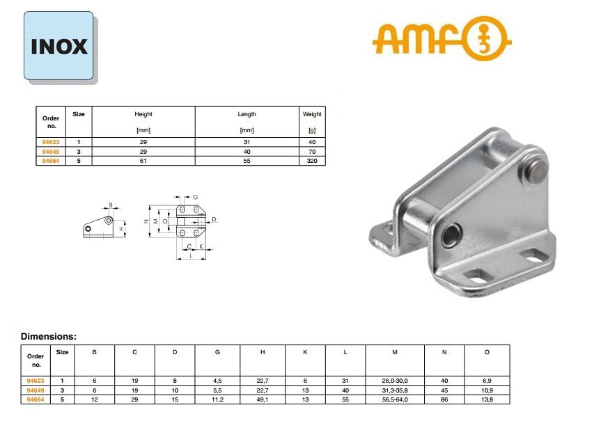 AMF Vergendelhaak Gr.1 nr.6847GNI roestvrij