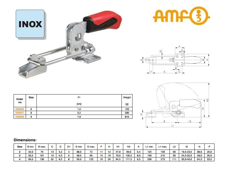 AMF Sluitspanner horizontaal Gr.2 nr 6848HNI roestvrij
