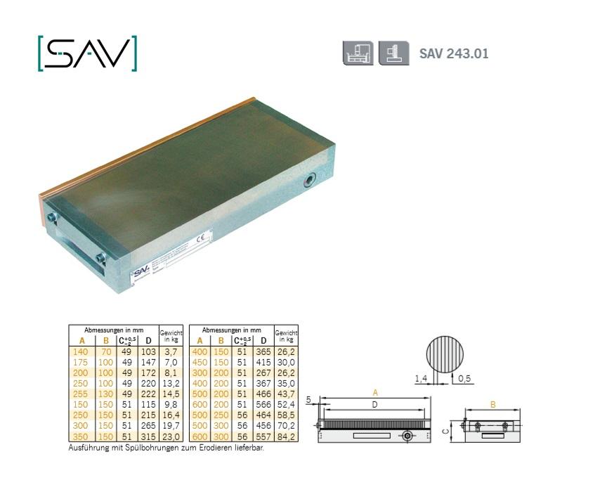 Permanente magneetspanplaat 140x70x49mm 175x100x49mm Pooldeling P=1,9mm