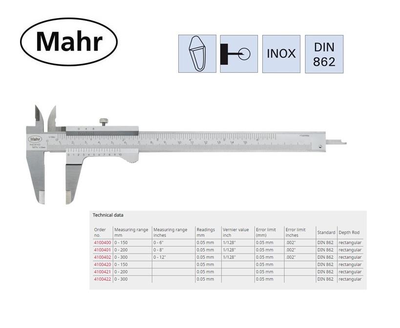 Zakschuifmaat 16 FN met vierkant dieptemaat en vastzetschroef 150mm, 0,05mm
