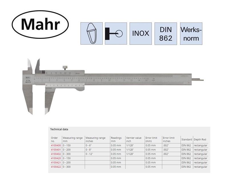 Zakschuifmaat 16 FN met vierkant dieptemaat en vastzetschroef 150mm, 0,02mm