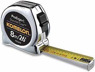 Komelon rolbandmaat ProErgo-C, 8mx26ft/25mm, staal/nylon gecoate band