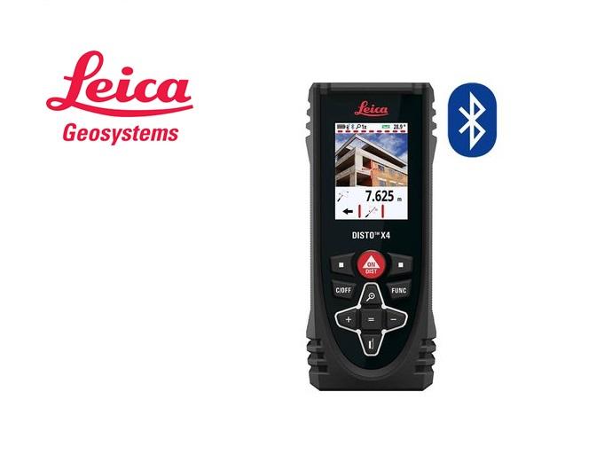 Leica Disto laserafstandsmeter X4, met Bluetooth en Pointfinder camera, in heuptas.