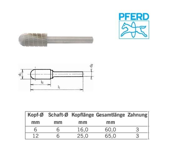 Cilindrische stiftfrees met bol uiteinde HM Z3 6mm, Pferd 058848