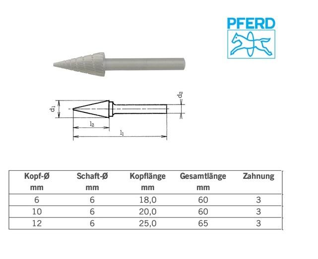 Spitse kegelvormige stiftfrees HM Z3 SKM: 6x18mm, Pferd 059210