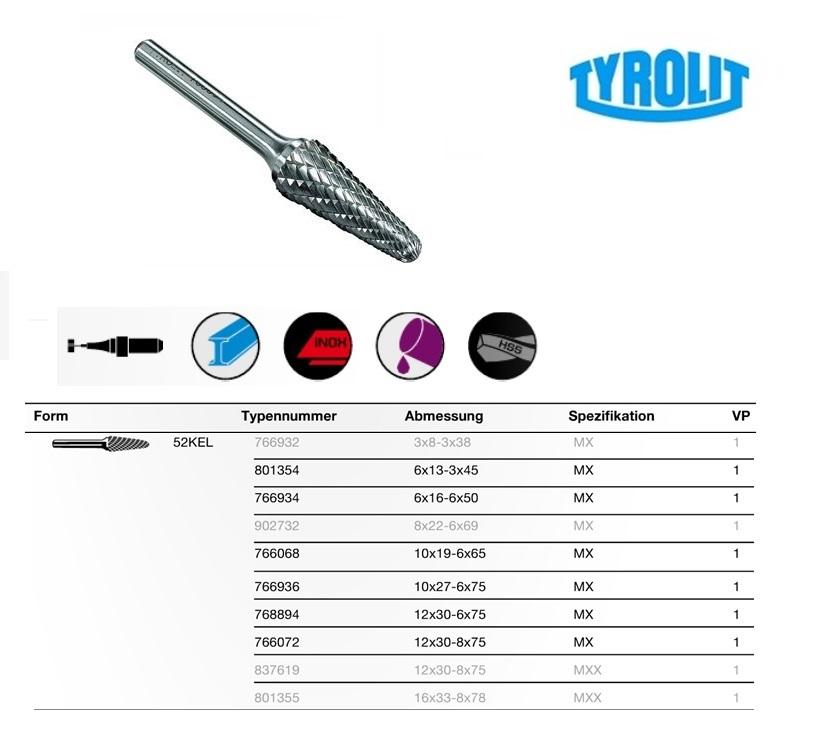Stiftfrees Ronde Kegelvorm 52KEL 3x8-3x38 Tyrolit 766932