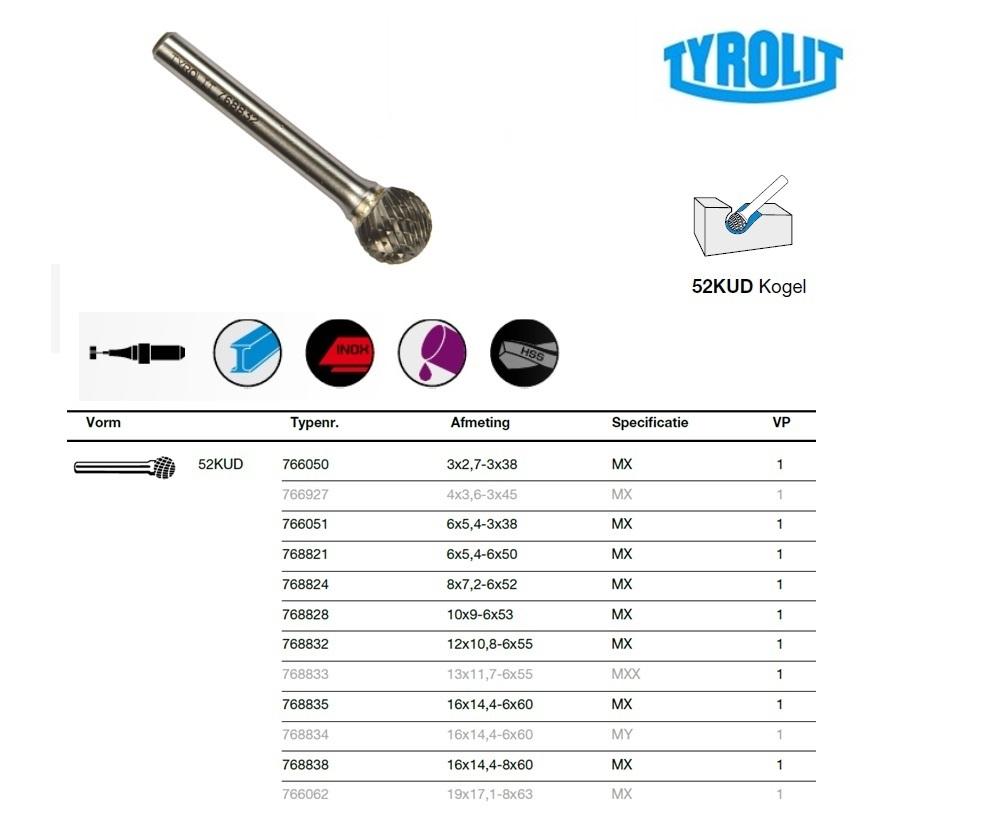 Kogelvorm frees 52KUD 3x2,7-3x38 Tyrolit 766050