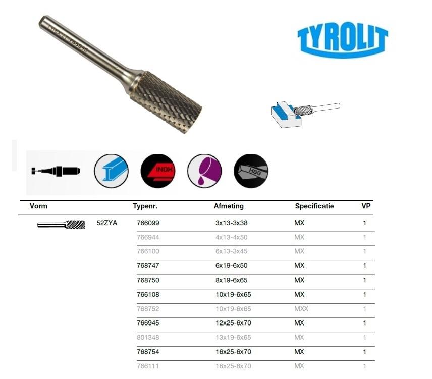 Cilinder frees 52 ZYA 3x13-3x38 Tyrolit 766099