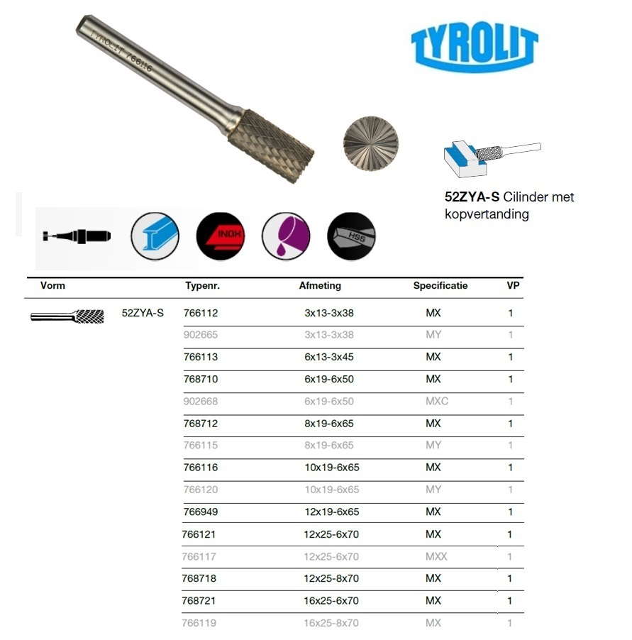 Cilinder met kopvertanding 52 ZYAS 3x13-3x38 Tyrolit 766112