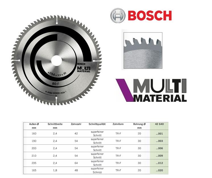 Cirkelzaagblad Multi Material,Ø 160x2,4x20mm 42 t Bosch 2608640503