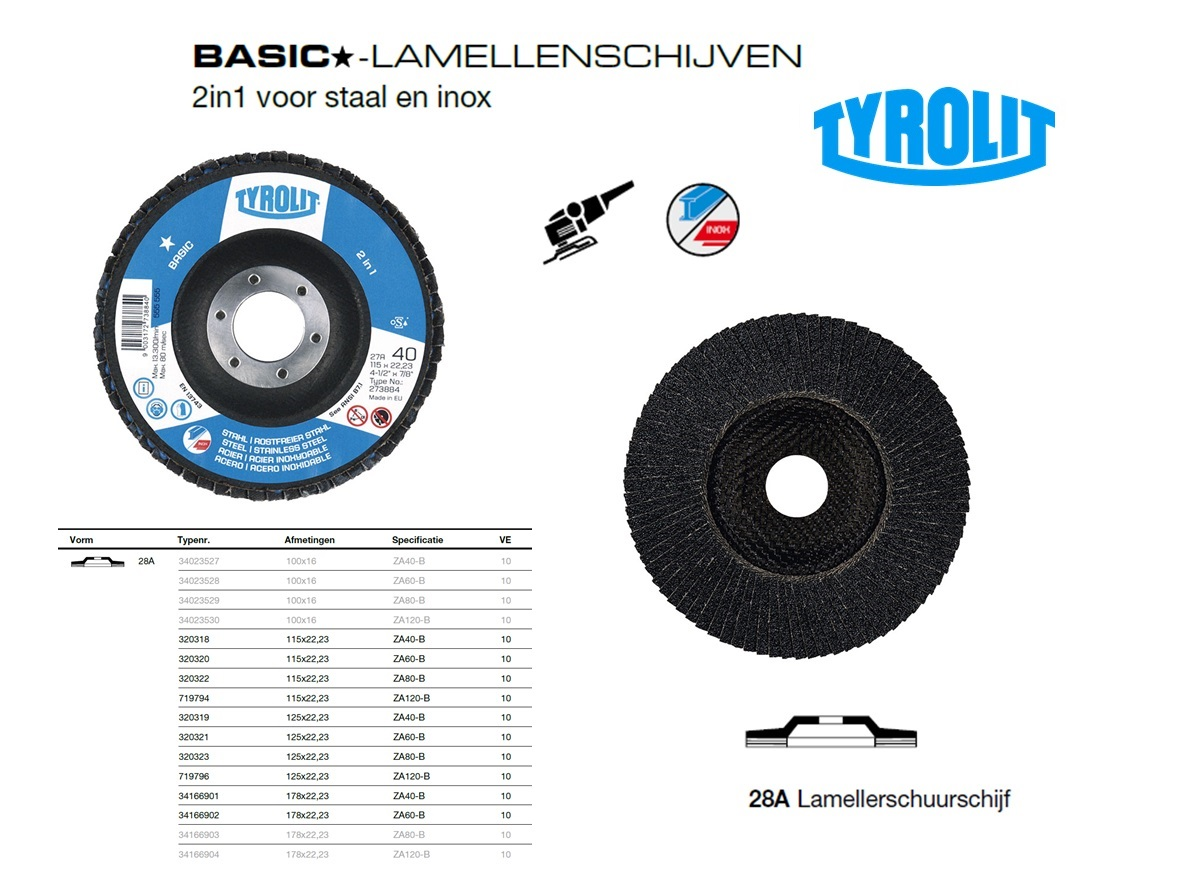 Lamellenschijf 28A 100x16 ZA40-B, Tyrolit 34023527