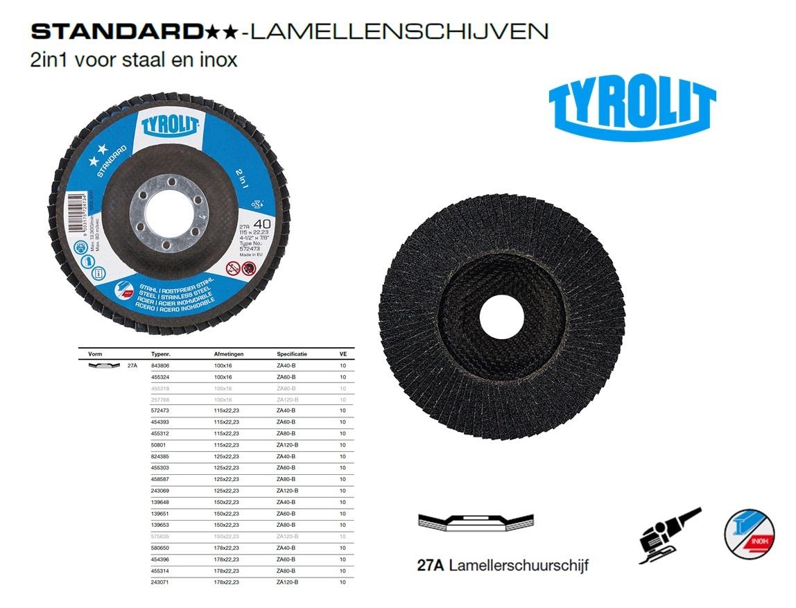 Lamellenschijf 27A 100x16 ZA120-B, Tyrolit 257768