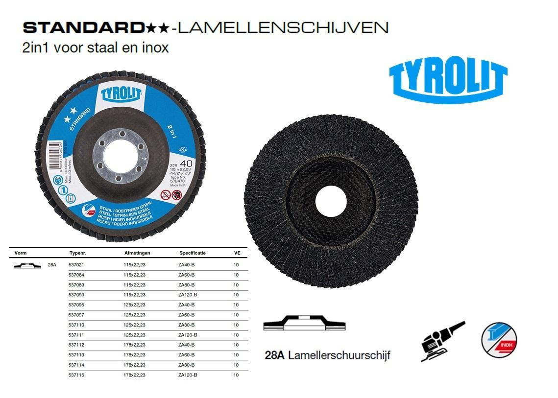 Lamellenschijf 28A 115x22,2 ZA40-B, Tyrolit 537021