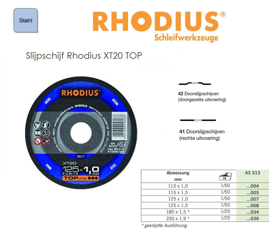 Doorslijpschijf 115x1, 0mm XT20 TOP, Rhodius 206170