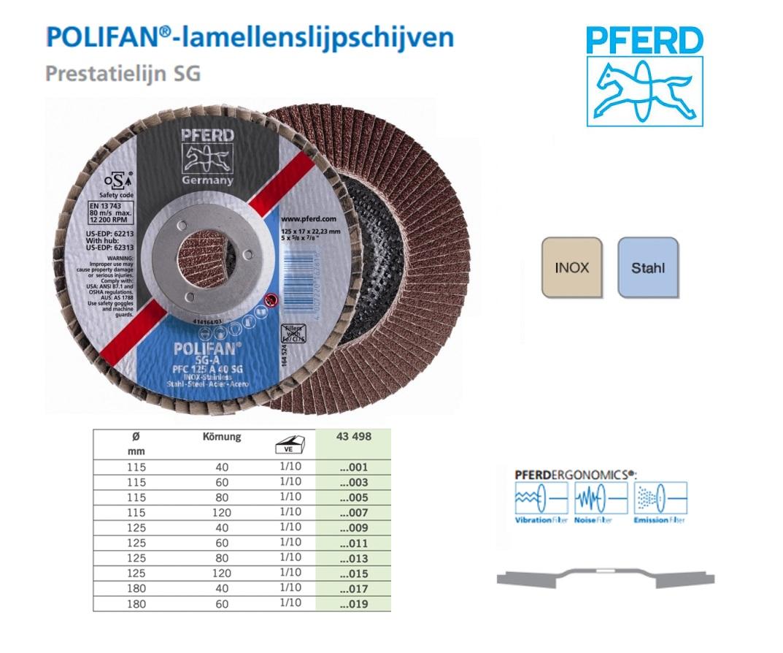 Lamellenslijpschijf POLIFAN PFC 115-22 A 40 SGA,PFERD 167809