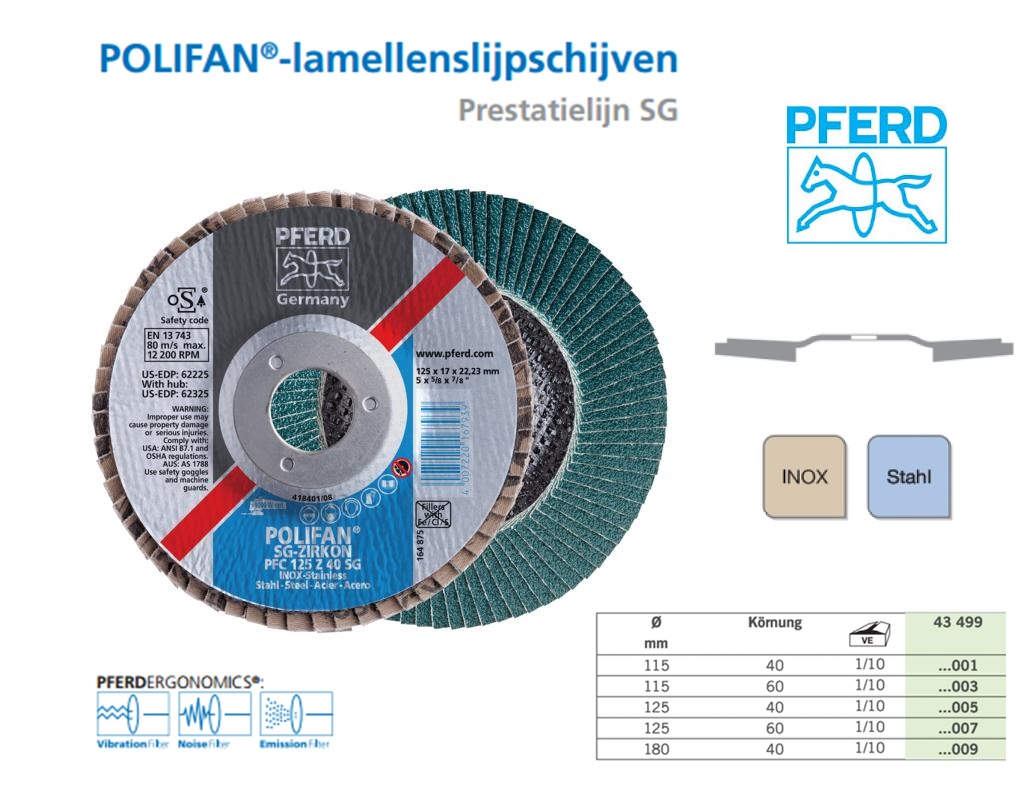 Lamellenslijpschijf POLIFAN PFC 115mm K40 SGP,PFERD 167922