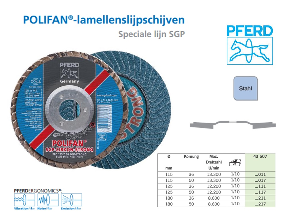 lamellenslijpschijf POLIFAN-STRONG Ø115 x 18 x 22,23 K36,PFERD 777862