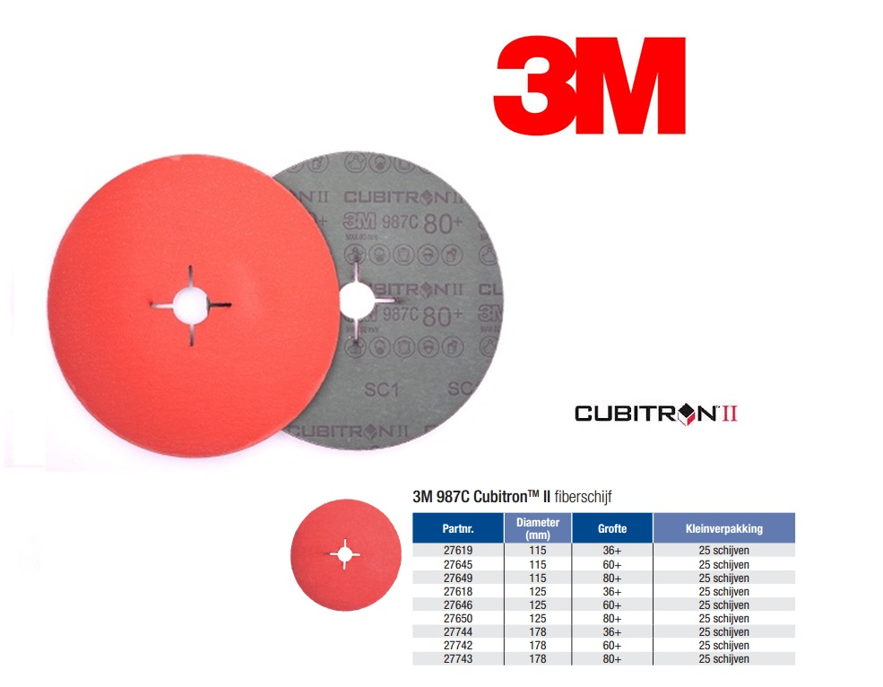 Fiberschijf 3M Cubitron II 987C Ø 115 x 22 mm K36+