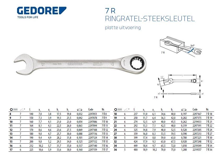 Gedore Ringratel-Steeksleutel 7R 8 mm L. 140 mm