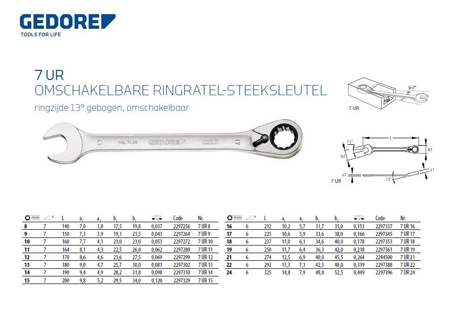 Gedore ringratel-steeksleutel 7 UR 8 8mm