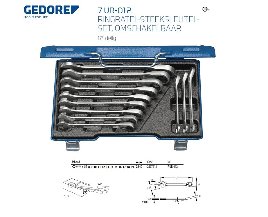 Gedore ringratel-steeksleutel set 7 UR-012 12tlg 8-19mm