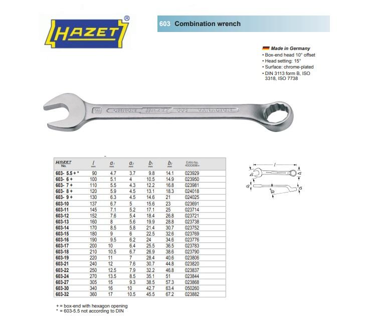 HAZET Ringsteeksleutel 603-5,5 - twaalfkant profiel - 5,5 mm