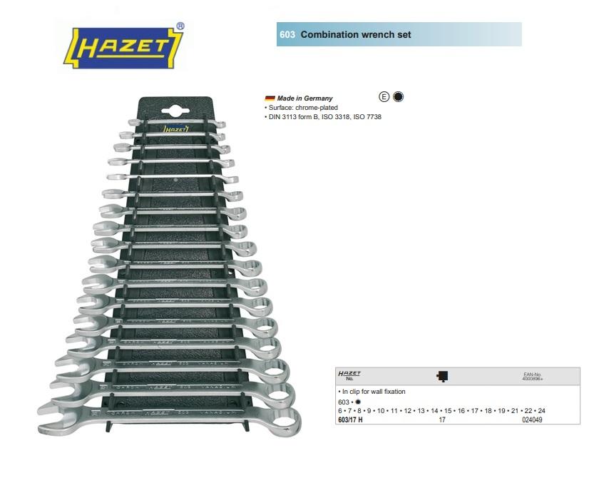 Hazet Combinatie sleutelset 603/17H 17 delig