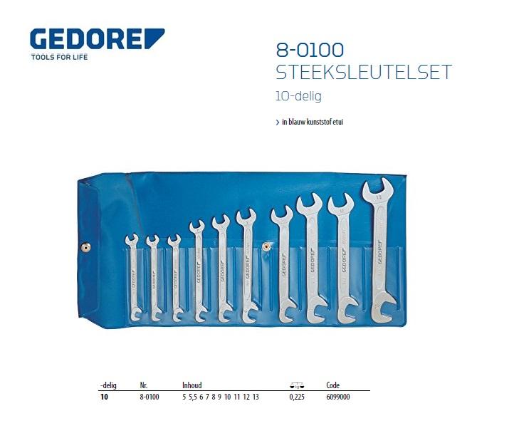 Gedore steeksleutel klein set 8-0100 10 dlg 5-13mm