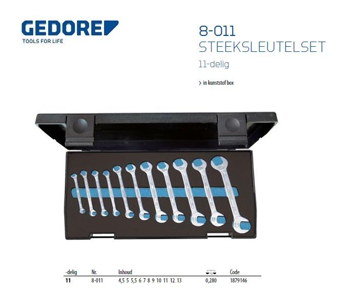 Gedore steeksleutel klein set 8-011 11-dlg 4,5-13 mm
